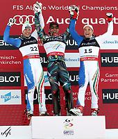 Alpint<br /> VM 2011<br /> Garmisch Partenkirchen Tyskland<br /> 14.02.2011<br /> Foto: Gepa/Digitalsport<br /> NORWAY ONLY<br /> <br /> FIS Alpine Ski-Weltmeisterschaften 2011, Superkombination der Herren, Slalom, Gudiberg. Bild zeigt den Jubel von Christof Innerhofer (ITA), Aksel Lund Svindal (NOR) und Peter Fill (ITA)