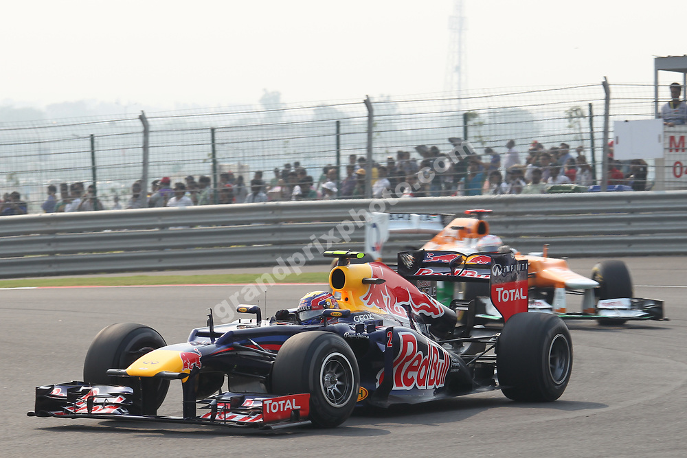 Mark Webber (Red Bull-Renault) leading Paul di Resta (Force India-Mercedes) before the 2012 Indian Grand Prix at the Buddh International Circuit. Photo: Grand Prix Photo