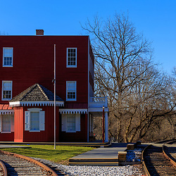 Hanover Junction, PA, USA - February 28. 2016: President Abraham Lincoln stopped at Hanover Junction Station and changed railroads as he traveled to Gettysburg to deliver what would become known as the Gettysburg Address.