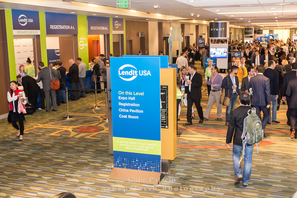 Registration at the LendIt USA 2016 conference in San Francisco, California, USA on April 11, 2016. (photo by Gabe Palacio)