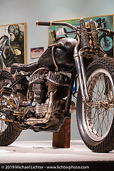 "Roland Sands Harley-Davidson flathead Bobber in the ""Built for Speed"" exhibition curated by Michael Lichter and Paul D'Orleans in the Russ Brown Events Center as part of the annual ""Motorcycles as Art"" series at the Sturgis Buffalo Chip during the Black Hills Motorcycle Rally. SD, USA. August 7, 2014.  Photography ©2014 Michael Lichter."