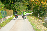 Cycling on the Danube bicycle Path between  Passau Germany and Schlogener Austria