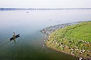 Duck farming by U Bien's Bridge in Mandalay, Myanmar.