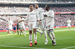February 9, 2019 - Madrid, Spain - Carlos Henrique Casemiro, Sergio Ramos and Vinicius Jr of Real Madrid celebrating a goalduring La Liga match between Atletico de Madrid and Real Madrid at Wanda Metropolitano in Madrid Spain. February 09, 2018. (Credit Image: © Peter Sabok/NurPhoto via ZUMA Press)