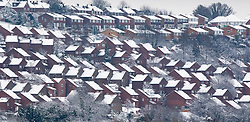 © Licensed to London News Pictures. 01/02/2019. High Wycombe, UK. Snow covered rooftops in High Wycombe, Buckinghamshire after overnight snow falls and continuing low temperatures. Photo credit: Peter Macdiarmid/LNP