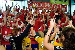 Fans Krimovci celebrate at the Final handball game of the Slovenian Women handball Championship between RK Krim Mercator and RK Olimpija when Krim Mercator won the Championship and became Slovenian National Champion, on May 23, 2009, Kodeljevo, Ljubljana, Slovenia.  (Photo by Klemen Kek / Sportida)