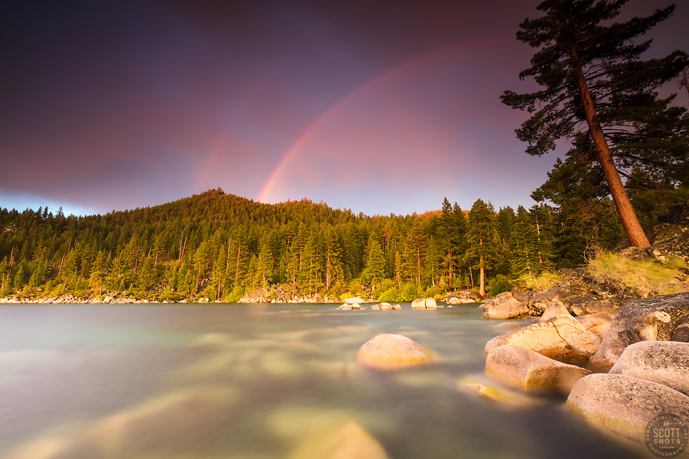 """""""Rainbow Over Lake Tahoe 2"""" - Photograph of a double rainbow at sunset, shot at Skunk Harbor, Lake Tahoe."""