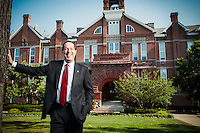 Drake University President David Maxwell was pictured outside of Old Main building on the campus in Des Moines, Iowa, on July, 17, 2013.