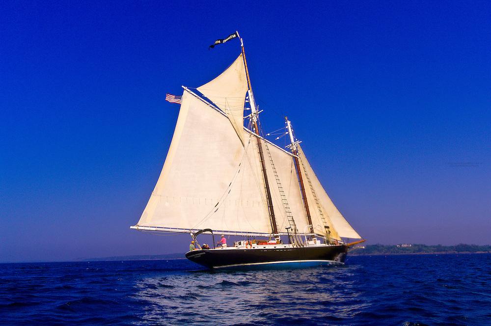 Schooner Nathaniel Bowditch sailing on Penobscot Bay, Maine USA