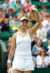 27.06.2013, Wimbledon, London, ENG, WTA Tour, The Championships Wimbledon, Tag 4, im Bild Sabine Lisicki (GER) celebrates after winning during the Ladies' Singles 2nd Round match on day four of the WTA Tour Wimbledon Lawn Tennis Championships at the All England Lawn Tennis and Croquet Club, London, Great Britain on 2013/06/27. EXPA Pictures © 2013, PhotoCredit: EXPA/ Propagandaphoto/ David Rawcliffe<br /> <br /> ***** ATTENTION - OUT OF ENG, GBR, UK *****