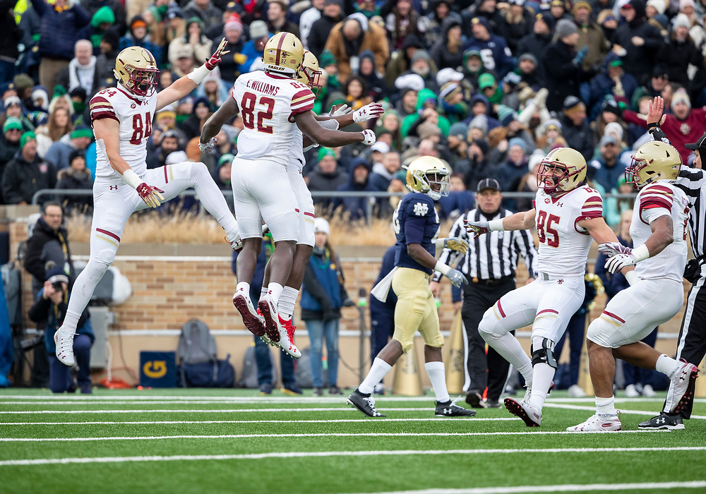 November 23, 2019:  Boston College players celebrate reception by Boston College wide receiver Kobay White (9) during NCAA football game action between the Boston College Eagles and the Notre Dame Fighting Irish at Notre Dame Stadium in South Bend, Indiana.  Notre Dame defeated Boston College 40-7.  John Mersits/CSM.