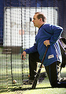 Chester, New York - Former New York Mets baseball star player Howard Johnson watches a young player hit the ball at the first anniversary open house celebration at The Rock Sports Park on Nov. 12, 2011.