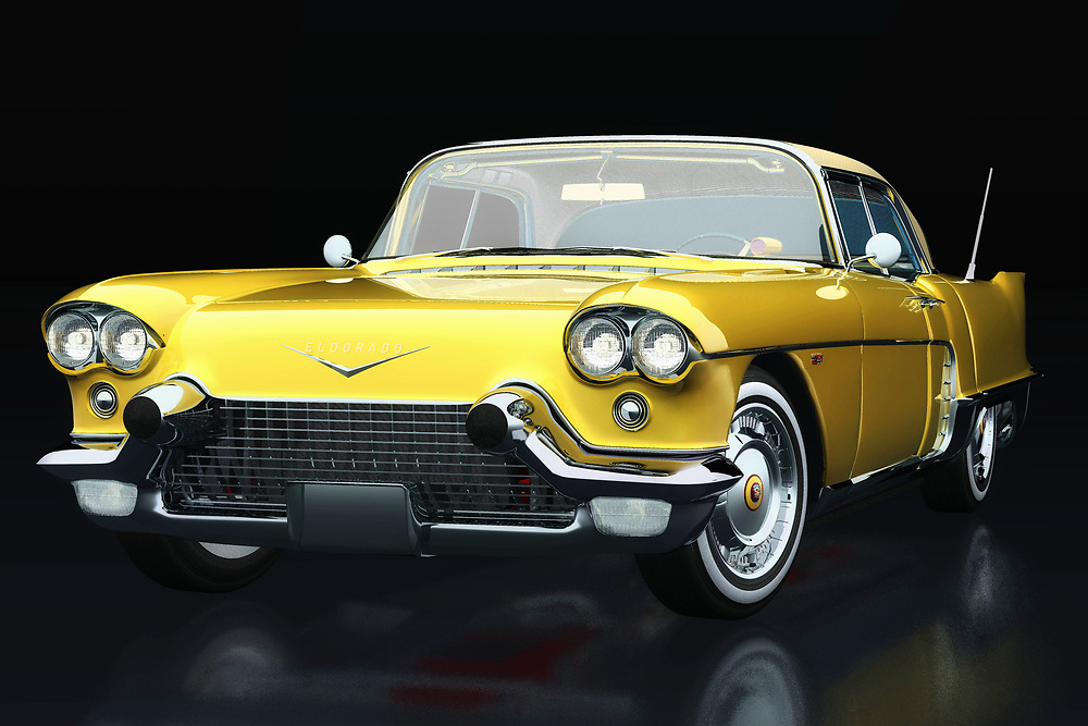 This painting of the Cadillac Eldorado Brougham production year 1957 in profile against a black background can be purchased in various sizes and printed on canvas as well as wood and metal. You can also have the painting finished with an acrylic plate over it which gives it more depth. This painting can be printed on a very large format -<br /> <br /> BUY THIS PRINT AT<br /> <br /> FINE ART AMERICA<br /> ENGLISH<br /> https://janke.pixels.com/featured/cadillac-eldorado-brougham-built-in-1957-three-quarter-view-jan-keteleer.html<br /> <br /> WADM / OH MY PRINTS<br /> DUTCH / FRENCH / GERMAN<br /> https://www.werkaandemuur.nl/nl/shopwerk/Cadillac-Eldorado-Brougham-gebouwd-in-1957-driekwart-aanzicht/738897/132?mediumId=11&size=75x50<br /> <br /> -