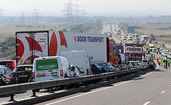 The scene of the multi car pile up on the A249 Isle of Sheppey  bridge in Kent, Thursday, 5th September 2013. Picture by Stephen Lock / i-Images