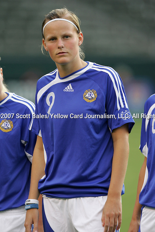 25 August 2007: Annica Sjolund. The United States Women's National Team defeated the Women's National Team of Finland 4-0 at the Home Depot Center in Carson, California in an International Friendly soccer match.