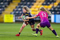 Alex Callender of Worcester Warriors Women tries to evade the challenge of Emma Hardy of Loughborough Lightning  - Mandatory by-line: Nick Browning/JMP - 14/11/2020 - RUGBY - Sixways Stadium - Worcester, England - Worcester Warriors Women v Loughborough Lightning - Allianz Premier 15s