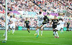 Diego Costa of Chelsea scores an overhead kick to make it 2-2  - Mandatory byline: Alex James/JMP - 07966386802 - 11/09/2016 - FOOTBALL - Barclays premier league -swansea,Wales - Swansea v Chelsea  -