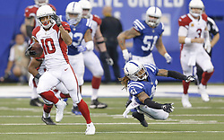 September 17, 2017 - Indianapolis, IN, USA - Arizona Cardinals wide receiver Brittan Golden (10) heads upfield on a big second half gain against the Indianapolis Colts on Sunday, Sept. 17, 2017 at Lucas Oil Stadium in Indianapolis, Ind. The Colts lost in overtime to the Arizona Cardinals 16-13. (Credit Image: © Sam Riche/TNS via ZUMA Wire)