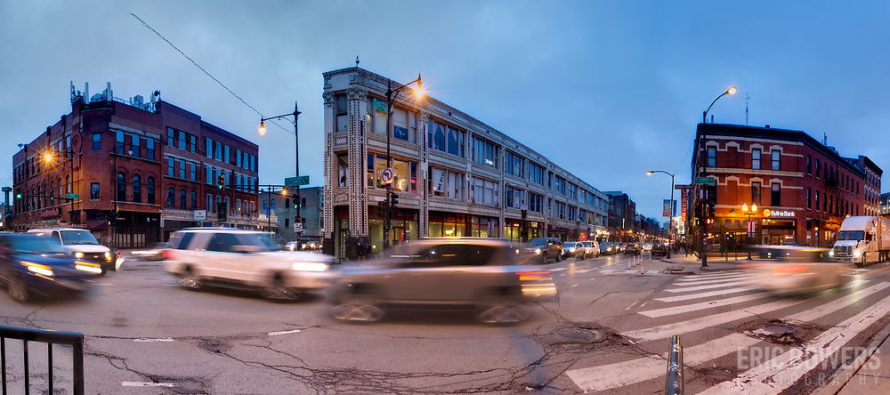 Chicago traffic at intersections of Damen, Milwaukee, and North Avenues.