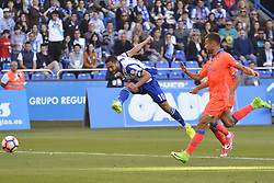 May 20, 2017 - Andone shoots on goal. LA CORUNA SPAIN. MAY 20, 2017 - La Liga Santander match day 38 game. Deportivo La Coruna defeated Las Palmas with goals scored by Florin And one (4th and 28th minute) and Carles Gil (39th minute). Riazor Stadium, Spain. Photo by Monica Arcay Carro | PHOTO MEDIA EXPRESS (Credit Image: © Monica Arcay Carro/VW Pics via ZUMA Wire/ZUMAPRESS.com)