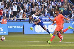 May 20, 2017 - Andone shoots on goal. LA CORUNA SPAIN. MAY 20, 2017 - La Liga Santander match day 38 game. Deportivo La Coruna defeated Las Palmas with goals scored by Florin And one (4th and 28th minute) and Carles Gil (39th minute). Riazor Stadium, Spain. Photo by Monica Arcay Carro | PHOTO MEDIA EXPRESS (Credit Image: © Monica Arcay Carro/VW Pics via ZUMA Wire/ZUMAPRESS.com)