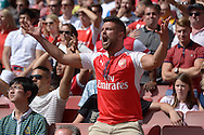 Angry Arsenal fans scream out to his players during the second half. Barclays Premier League, Arsenal v West Ham Utd at the Emirates Stadium in London on Sunday 9th August 2015.<br /> pic by John Patrick Fletcher, Andrew Orchard sports photography.