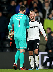 Derby County goalkeeper Scott Carson (left) and Derby County's Johnny Russell after the final whistle