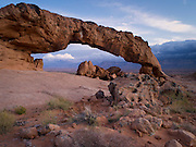 "View of Sunset Arch, in the Grand Staircase-Escalante National Monument, south of Escalante, UT; sunset; Lat =  37°22'31.94""N; Long = 111° 2'50.23""W"