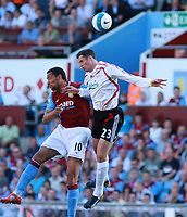 Photo: Mark Stephenson. <br /> Aston Villa v Liverpool. Barclays Premiership. 11/08/2007. <br /> Liverpool's Jamie Garrager out jumps Villa's Andriy Voronin