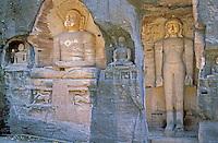 Inde - Madhya Pradesh - Gwalior - Fort , Sculptures Jaïn<br /> Jain sculptures - Gwalior - India