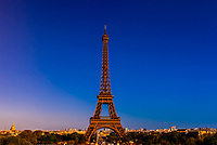 The Eiffel Tower, the world famous wrought-iron lattice tower that is the most famous landmark of Paris, France.