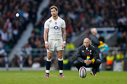 England replacement Danny Cipriani kicks a conversion - Photo mandatory by-line: Rogan Thomson/JMP - 07966 386802 - 14/02/2015 - SPORT - RUGBY UNION - London, England - Twickenham Stadium - England v Italy - 2015 RBS Six Nations Championship.