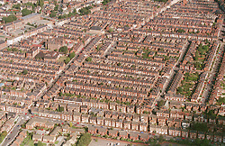 Aerial view of Forest Fields in Nottingham showing terraced grid pattern housing,