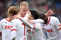0:1 Jubel v.l. Marcel Risse, Kevin Vogt, Torschuetze Leonardo Bittencourt (Koeln)<br /> Hannover, 12.03.2016, Fussball Bundesliga, Hannover 96 - 1. FC Köln<br /> Norway only