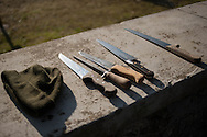 Knives and some other butchering tools on a wall, in traditional way pig slaughtering. Legasa (Basque Country). January 7, 2017. The slaughter traditionally takes place in the autumn and early winter and the work often is done in the open. (Gari Garaialde / Bostok Photo)