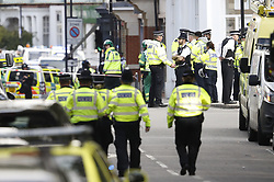 © Licensed to London News Pictures. 15/09/2017. London, UK. Police and emergency services at the scene after a small explosion on an underground train at Parsons Green station. A number of casualties have been reported. Photo credit: Peter Macdiarmid/LNP