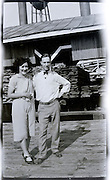couple at wood cutting mill Missouri USA 1920s