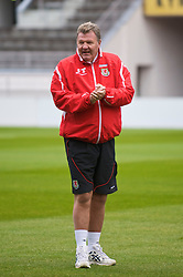 HELSINKI, FINLAND - Friday, October 9, 2009: Wales' manager John Toshack MBE during training at the Helsinki Olympic Stadium ahead of the 2010 FIFA World Cup Qualifying Group 4 match against Finland. (Pic by David Rawcliffe/Propaganda)