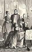 Rachel Verrinder, in front of Godfrey Abelwhite and Miss Clack, making her false confession to her mother that she has pledged the Moonstone to pay private debts.  Illustration by Arthur Fraser (active 1865-1898) for 'The Moonstone' by Wilkie Collins (London, 1890). First published in 1868 and said by TS Eliot to be the 'the first and greatest of English detective novels'.