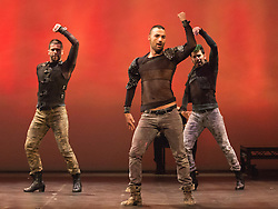 © Licensed to London News Pictures. 05/05/2015. London, England. L-R: Angel Rojas, Iker Karrera and Carlos Rodriguez. UK Premiere of Titanium, a show fusing Flamenco, Breakdance and Hip Hop choreographed by Rojas and Rodriguez of Nuevo Ballet Espanol, opens at the Peacock Theatre, London. Running from 5-23 May 2015. Dancers: Angel Rojas, Carlos Rodriguez, Cristian Garcia Ballesteros, Iker Karrera, Fran Eliu, Sergio Melantuche, Elhiu Vazquez, Omar Fraile and Juan Pablo Trejo. Photo credit: Bettina Strenske/LNP