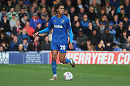 AFC Wimbledon defender Toby Sibbick (20) dribbling during the EFL Sky Bet League 1 match between AFC Wimbledon and Gillingham at the Cherry Red Records Stadium, Kingston, England on 23 March 2019.