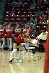 20 November 2004....Savannah Knowles digs a serve....Illinois State University Redbirds V Drake Bulldogs Women's Volleyball.  Redbird Arena, Illinois State University, Normal IL
