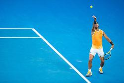 January 24, 2019 - Melbourne, VIC, U.S. - MELBOURNE, AUSTRALIA - JANUARY 24 : Rafael Nadal of ÊSpain serves the ball during the semifinals on day 11 of the Australian Open on January 24 2019, at Melbourne Park in Melbourne, Australia.(Photo by Jason Heidrich/Icon Sportswire)MELBOURNE, AUSTRALIA - JANUARY 24  (Credit Image: © Jason Heidrich/Icon SMI via ZUMA Press)