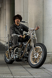 Cherry's Company master builder Kaichiroh Kurosu with his custom Shovelhead entry into the Mooneyes Yokohama Hot Rod & Custom Show. Yokohama, Japan. December 2, 2016.  Photography ©2016 Michael Lichter.