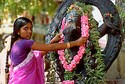 INDIA, RELIGION, HINDUISM Madurai; Meenakshi Temple; woman makes flower offering to Ganesh elephant headed son of Siva