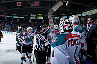 KELOWNA, CANADA - MARCH 14:  The Prince George Cougars get in the face of the Kelowna Rockets on March 14, 2018 at Prospera Place in Kelowna, British Columbia, Canada.  (Photo by Marissa Baecker/Shoot the Breeze)  *** Local Caption ***