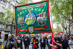 London, UK. 1st May, 2019. Representatives of trade unions and socialist and communist parties from many different countries take part in the annual May Day march and rally to mark International Workers' Day.