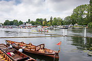 2Henley on Thames, England, United Kingdom 7th July 2019, Henley Royal Regatta Sunday Final Visitors Challenge Cup, Cambridge University and Leander Club, with a commanding lead over Amsterdamsche Studenten Roeivereeniging Nereus and Delftsche Studenten Roeivereeniging Laga, Netherlands, on Henley Reach, [© Peter SPURRIER/Intersport Image]<br /> <br /> 12:16:35 1919 - 2019, Royal Henley Peace Regatta Centenary,