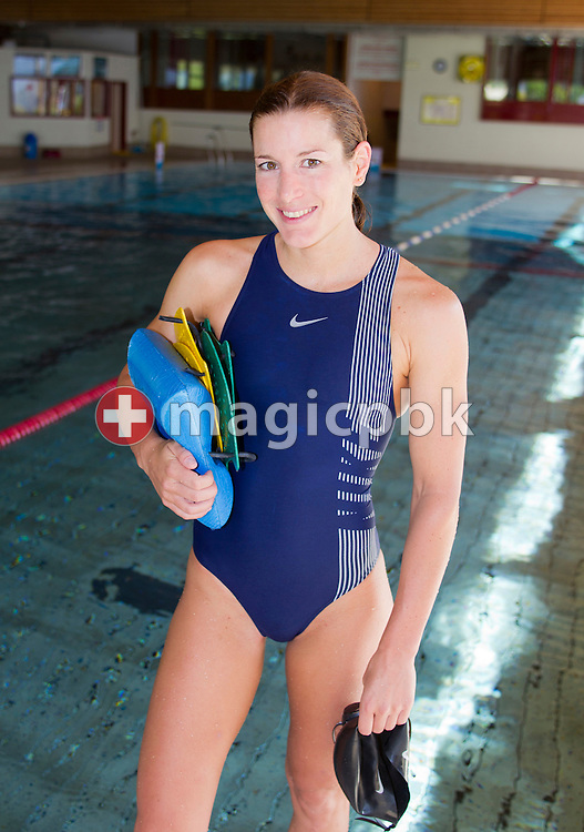 Triathlete Nicola SPIRIG of Switzerland is pictured during a photo session after her swim training at the indoor swimming pool in Leysin, Switzerland, Wednesday, June 15, 2011. (Photo by Patrick B. Kraemer / MAGICPBK)