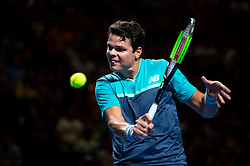 January 7, 2019 - Sydney, NSW, U.S. - SYDNEY, AUSTRALIA - JANUARY 07: Milos Raonic (CAN) hits a backhand at The Sydney FAST4 Tennis Showdown on January 07, 2018, at Qudos Bank Arena in Homebush, Australia. (Photo by Speed Media/Icon Sportswire) (Credit Image: © Steven Markham/Icon SMI via ZUMA Press)